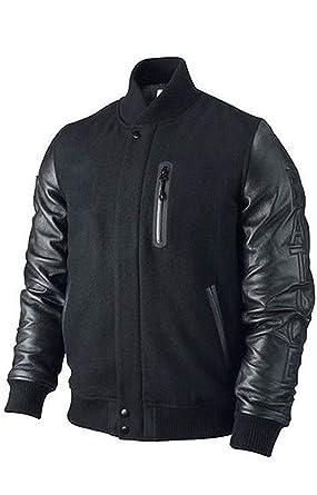 fc0e4c84344d35 Michael B Jordan Kobe Destroyer XXIV Battle Wool and Leather Sleeves Jacket  (XSmall) Black