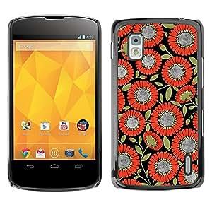 Be Good Phone Accessory // Dura Cáscara cubierta Protectora Caso Carcasa Funda de Protección para LG Google Nexus 4 E960 // Pattern Fabric Orange Black