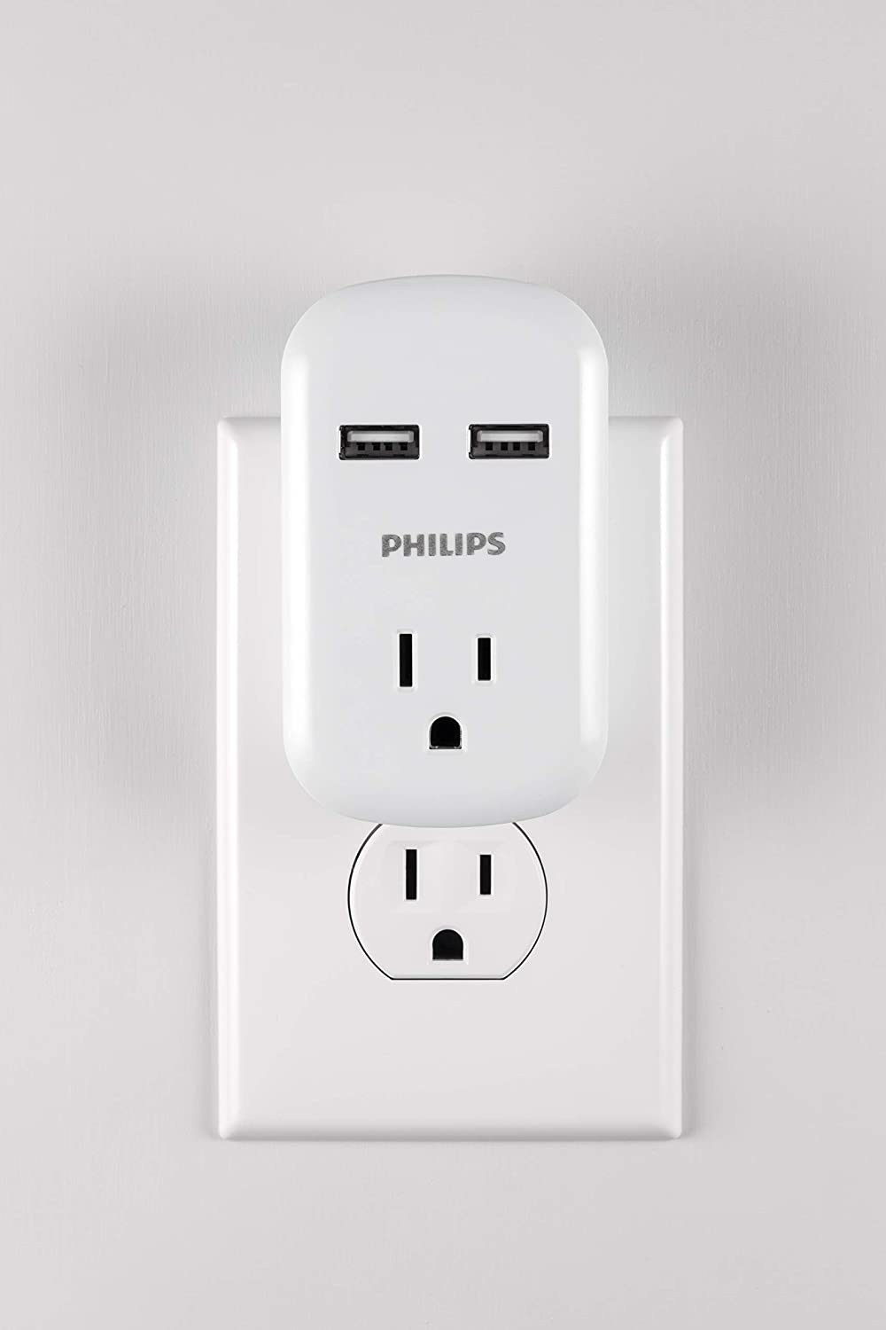 125V AC//15A//1875W ETL Certified 3 Prong 2 Ports Compact Adapter 1 Pack Philips 1 Outlet 2 USB Power Strip Wall Tap Charging Station White SPP1201WA//37