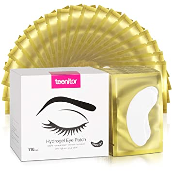 c2a83c96426 Amazon.com: 110 Pairs Lash Under Eye Pads, Teenitor Eyelash Extension Gel  Pads, Lint Free Lash Extension Eye Gel Patches Golden: Beauty