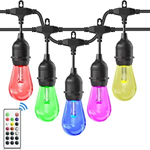 Outdoor String Lights, iBesi 48FT RGB LED String Lights Waterproof with Commercial Grade, Dimmable LED Heavy Duty Hanging Patio String Lights with Remote for Garden, Party, Bar, Cafe Shop, UL Listed.