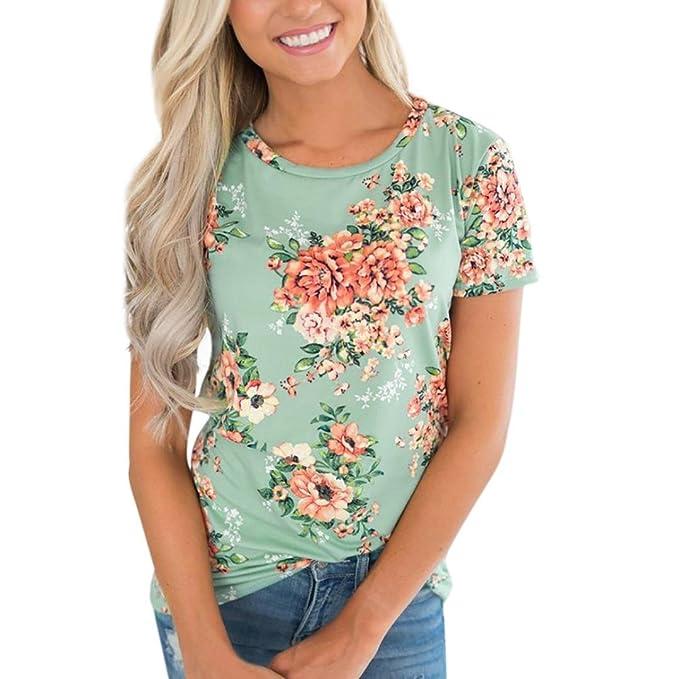 73902140d25d Damen T-Shirt Hffan Frauen Sommer Top Sexy O-Ausschnitt Floral bedruckt Casual  Kurzarm