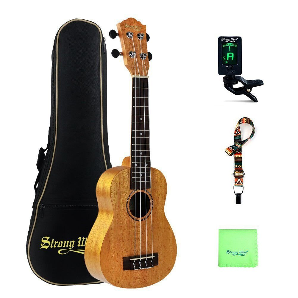 Mahogany Soprano Ukulele Beginners, Strong Wind 21 Inch Natural Uke Ukulele Starter Kit with Professional Aquila Strings for Kids Children Adults Students Jiangsu Dafeng Instrument Co. LTD. SWUK21-001ca