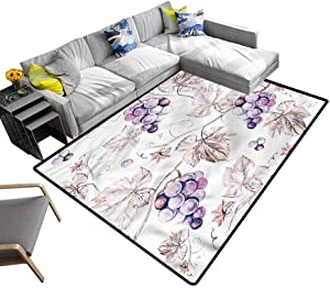Vine, Bedside Rugs Hand Drawn Grapes Nature Extra Soft and Comfy Carpet for Home, Bed, Living Room, 3'x 5'