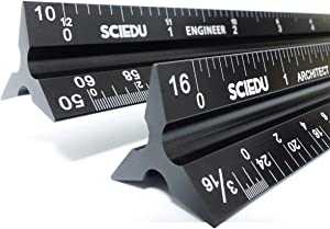 Architect Scale and Engineer Scale Set - Two Aluminum Rulers with Velvet Bags(12 inches Imperial Scale)