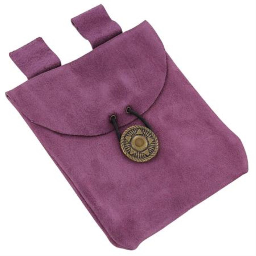 Crown Chakra Small Medieval Renaissance Lavender Suede Leather Belt Pouch