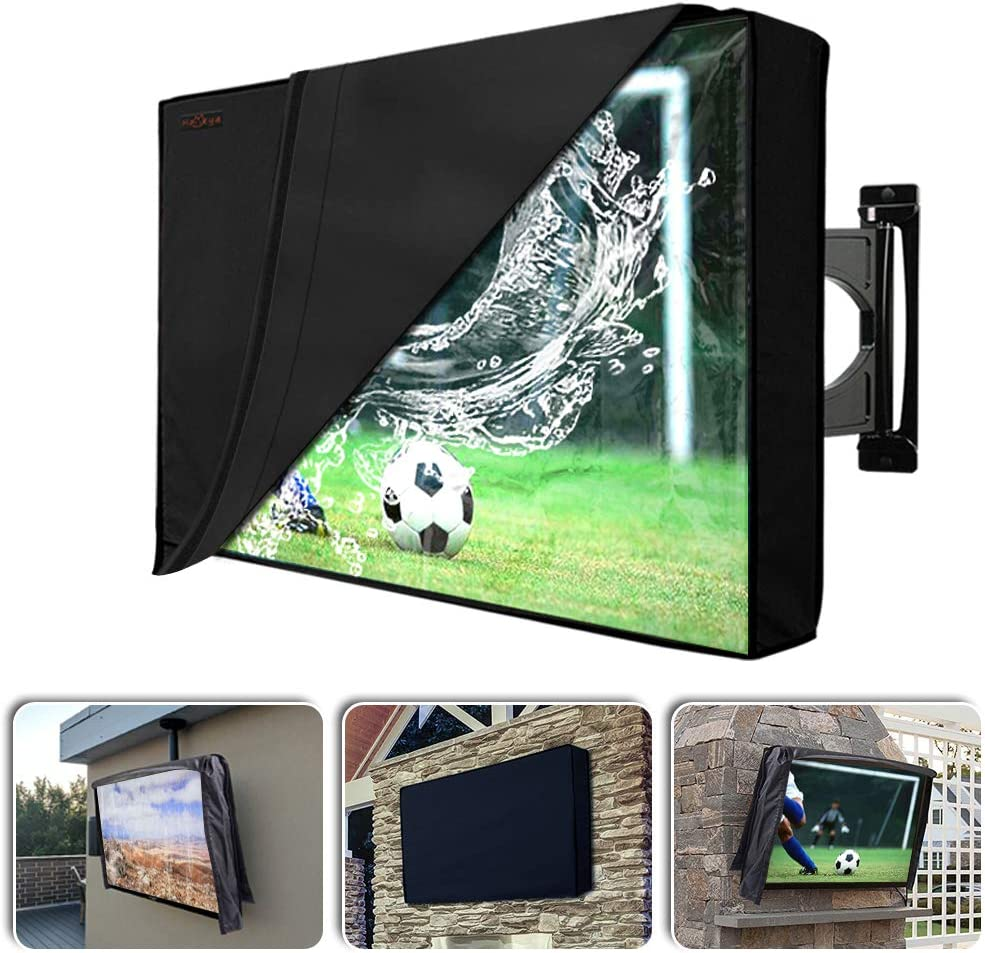 Outdoor TV Cover with Scratch Resistant Liner Homeya Outside Waterproof Weatherproof Dust Resistant Slim Fit Television LED Screen Protector with Built in Remote Control Storage Pocket 50-52