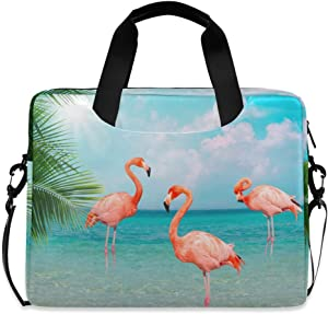 ALAZA Flamingo Animal Palm Leaf Beach Laptop Case Bag Sleeve Portable Crossbody Messenger Briefcase w/Strap Handle, 13 14 15.6 inch