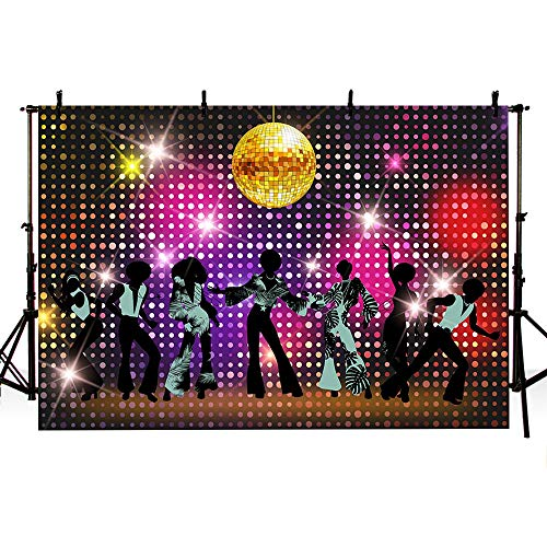 MEHOFOTO Vintage 80s 90s Disco Themed Let's Glow Crazy Night Party Backdrop Banner Neon Dancers Shiny Adults Birthday Background Decorations Photo Studio Props 7x5ft -