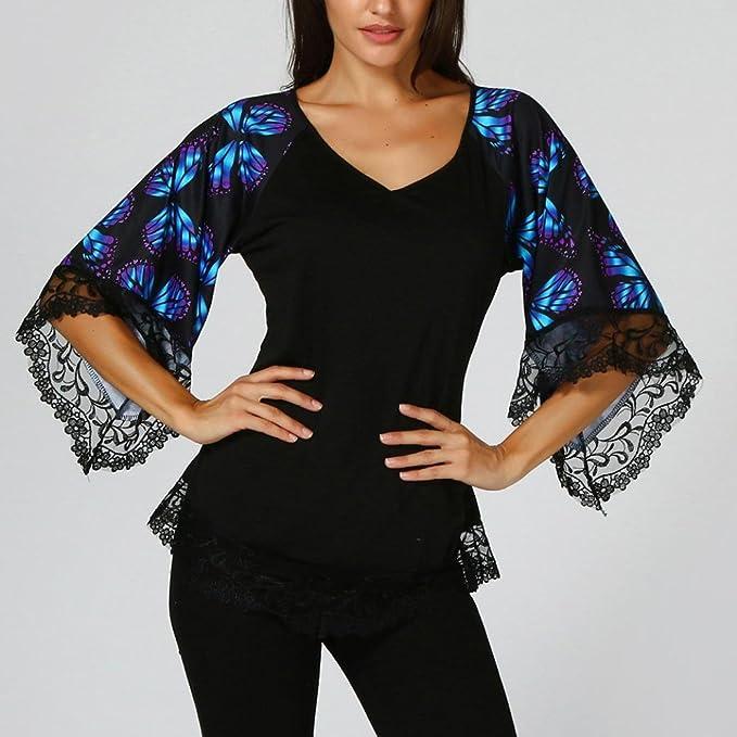 ❤ Blusa Mujer 2018, Elegante camiseta de manga raglán con mariposa y blusa con borde de encaje ABsolute: Amazon.es: Ropa y accesorios