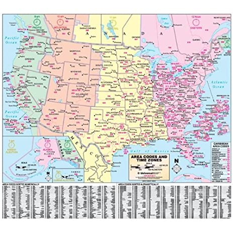 Map Of Time Zones And Area Codes In Usa north america laminated