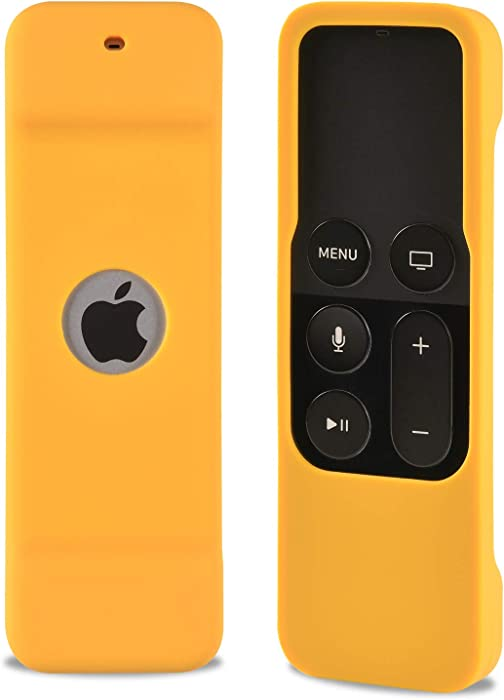 Shockproof Silicone Remote Control Case for Apple TV 4th Gen 4K 5th Siri Remote Controller,Remote Case Compatible with Apple TV 4K (5th) and 4th Generation. (Yellow)