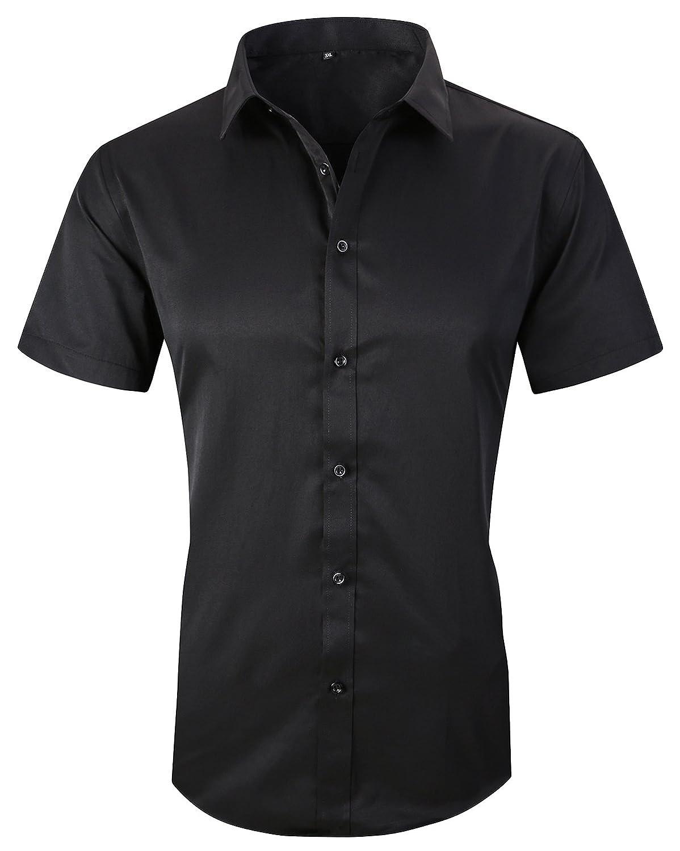 (エックスタパン) XTAPAN メンズ コットン製長袖ボタンダウンドレスシャツ カジュアル スリムフィット B07C4HCKT8 US XL=Tag 5XL ブラック ブラック US XL=Tag 5XL