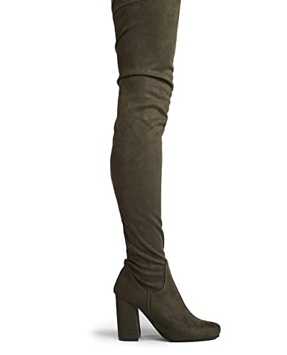 67241809b53 J. Adams Chunky Heel Thigh High Boot Olive Suede