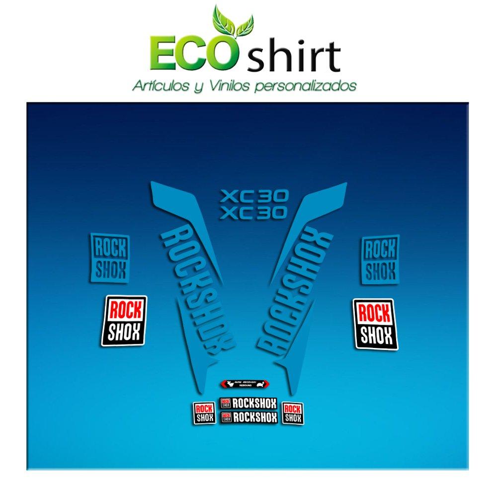 Ecoshirt 16-NZ84-CL7G Pegatinas Stickers Fork Rock Shox Xc32 2017 Am170 Aufkleber Decals Autocollants Adesivi Forcela Azul