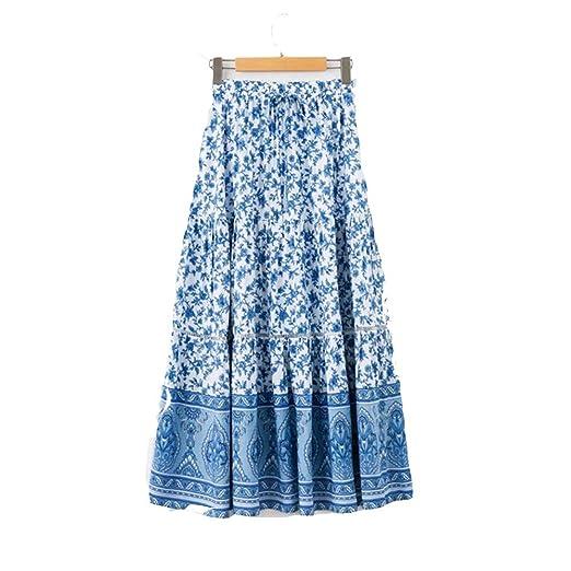 Owenqian Faldas de Mujer Plisadas Vintage Falda Bohemia de Las ...