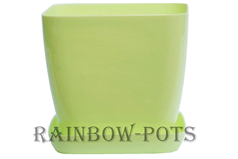 12 cm - 4.7 inch, Violet Decor Square Flower Pots 14 Colours and 4 Sizes to Choose Gloss Plastic Plant Pots Planter Saucer