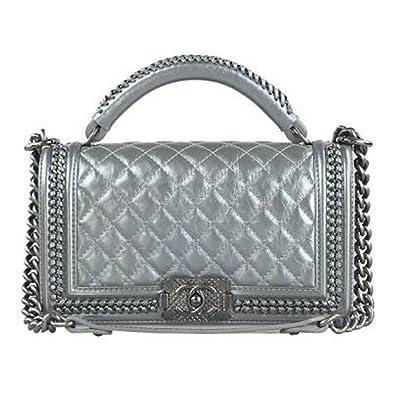 e8979b98ac93 New Chanel Silver Metallic Boy Flap Shoulder Bag with Handle: Amazon.co.uk:  Shoes & Bags