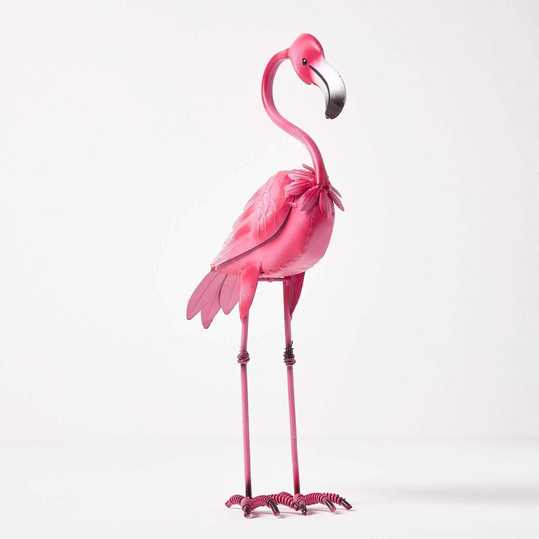 Figura decorativa de flamenco Homescapes para jardín, de metal, pintada a mano, de hierro, para jardín, estanque y balcón, decoración de estanque, figura de animales, color rosa, aprox. Altura: 38 cm.