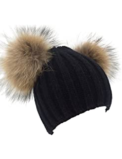 Women s Winter Chunky Knit Double Pom Pom Beanie Hat With Hair Tie ... 0989d6cdc8e