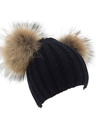 c4ff290dd9d XWDA Women s Knitted Raccoon Fur Double Pom Beanie Hat (Black) at ...