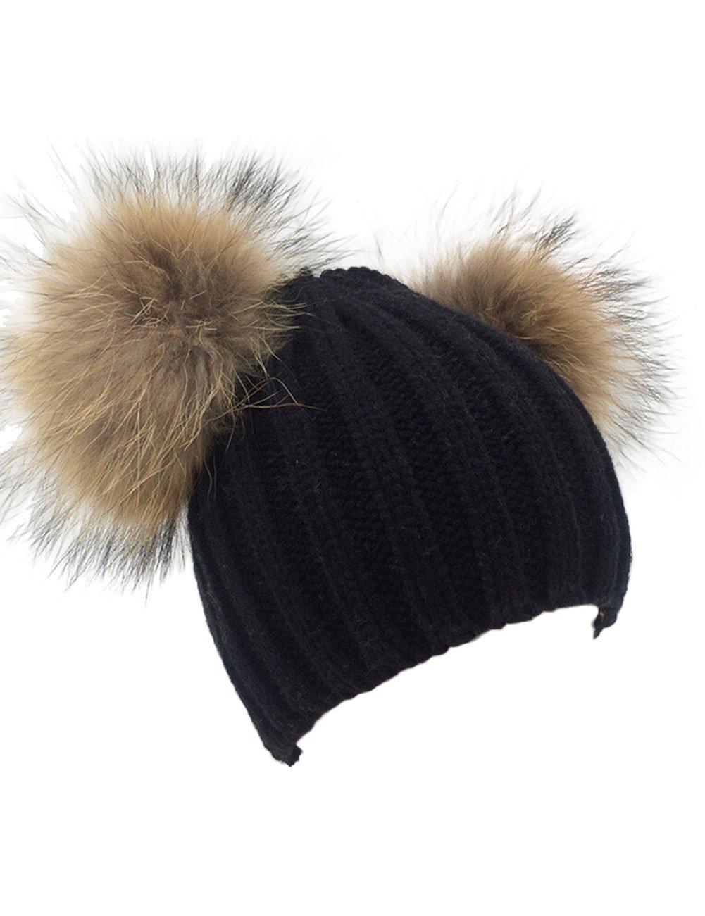 XWDA Women's Knitted Raccoon Fur Double Pom Beanie Hat (Black)