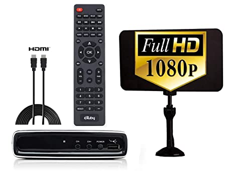 Exuby Digital Converter Box w/Flat Antenna, HDMI Cable for Recording &  Watching Full HD Digital Channels - Instant & Scheduled Recording, 1080P,  HDMI