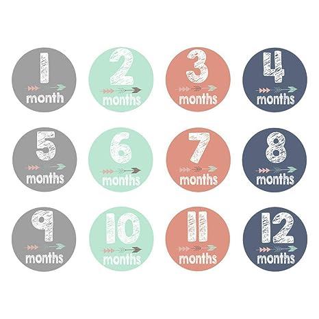 VORCOOL Etiquetas engomadas del Mes del bebé, 12 Etiquetas engomadas ...