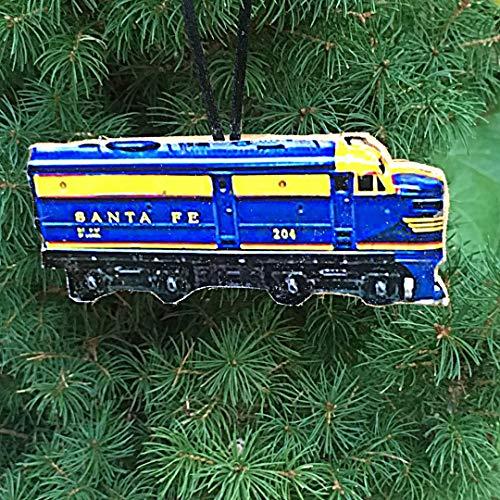 Lionel Train Ornament, Handcrafted Wood Santa Fe Engine Set, O Gauge Set, Christmas Gift, Kids' Ornaments, Toy Train 1950s Nostalgia Husband