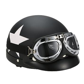 KKmoon Casco Abierto Motocicleta Gafas Visera Bufanda Incorporadas