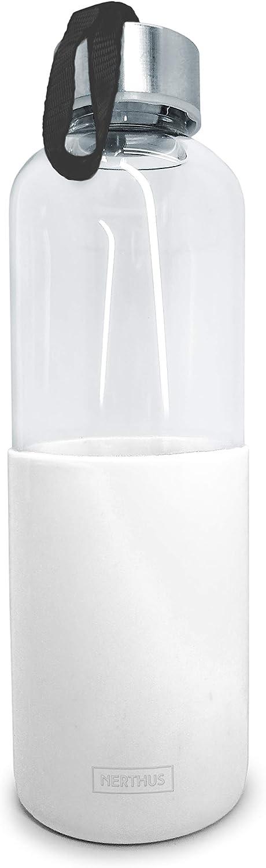 NERTHUS FIH 403 Botella de cristal 600ml, Antideslizante Silicona, color blanco 0.6 litros
