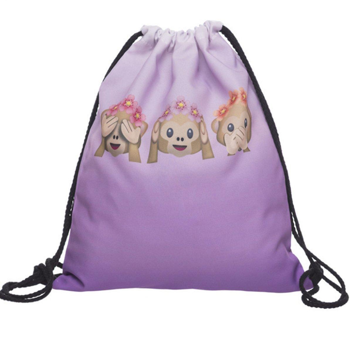 Winzikユニセックス巾着バッグ3d印刷絵文字パターン軽量ジムトレーニングSackpack旅行バックパックアウトドアスポーツバッグショッピングカジュアルデイパック B071D4BH1B  9#