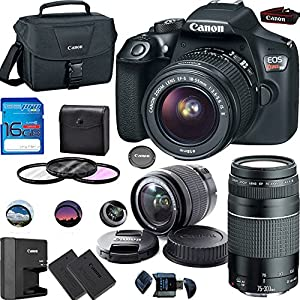 Canon EOS Rebel T6 Digital SLR Camera Kit with EF-S 18-55mm and EF 75-300mm Zoom Lenses (Black) + Deal-Expo Premium Accessory Bundle