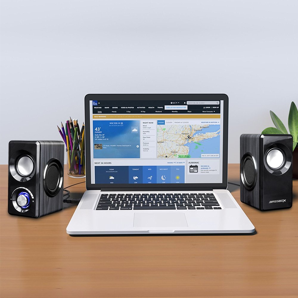 BASSBOX USB 2.0 Channel Computer Speakers with Stereo Sound for Mac,PC,Laptop,Smart Phone and More