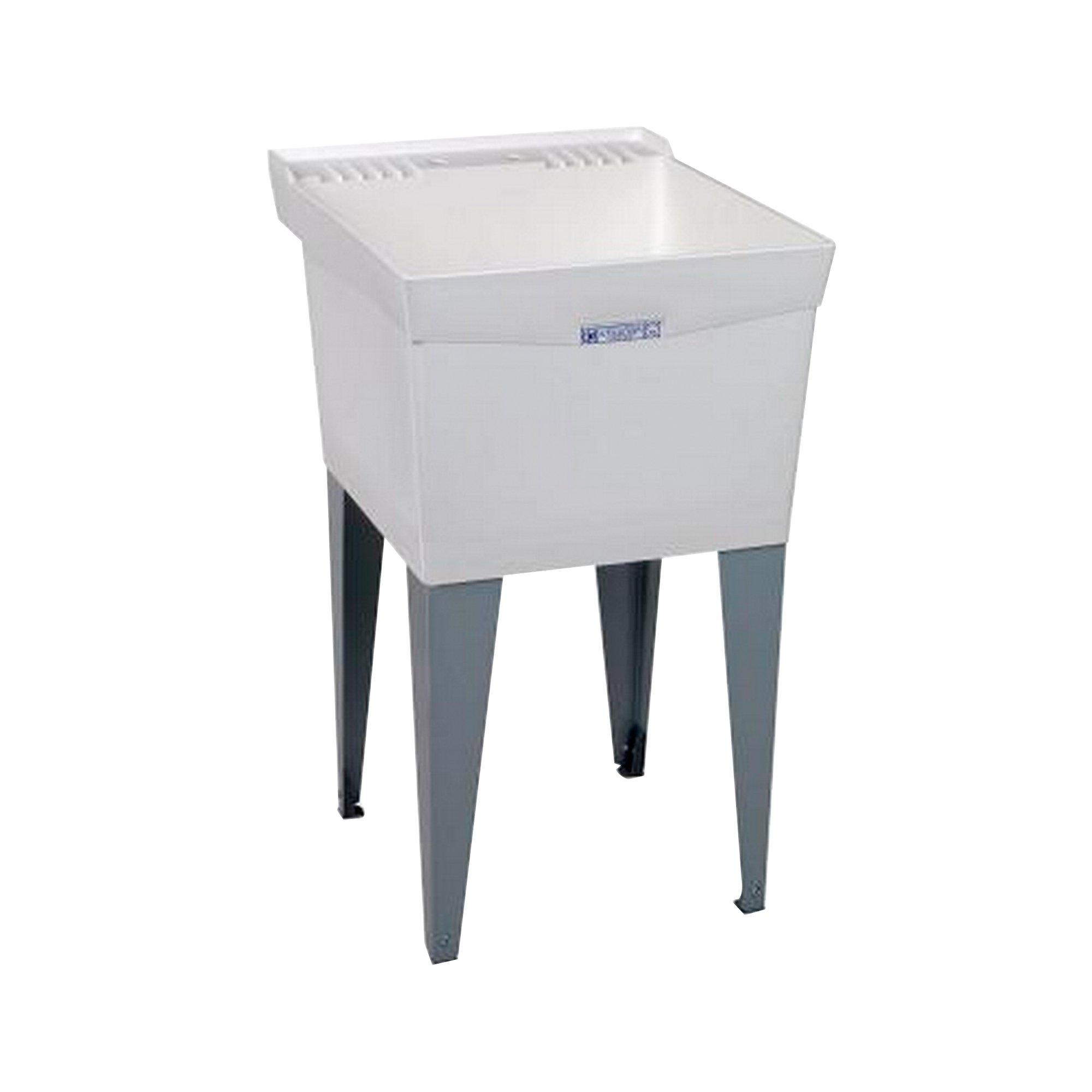 Mustee 19F Utilatub Laundry Tub Floor Mount, 24-Inch x 20-Inch, White