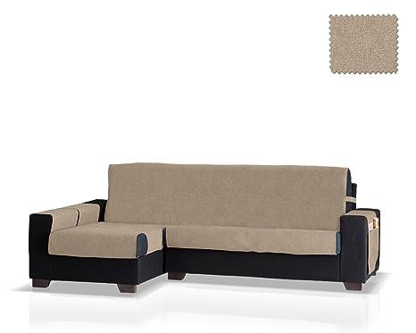 Funda de sofá Chaise Longue Pharma Brazo Izquierdo, Tamaño grande (275 Cm.),Color Visón