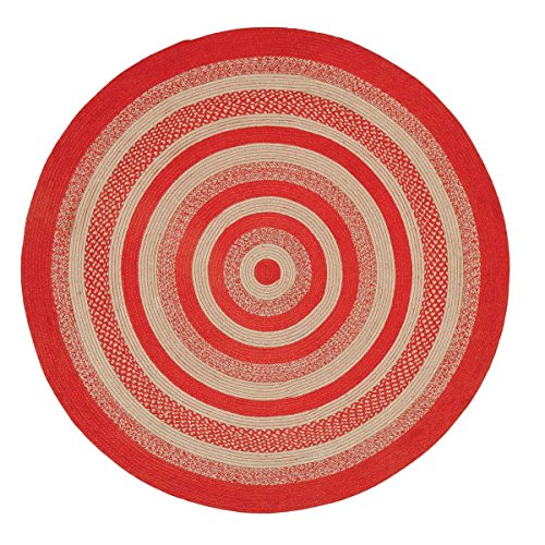 VHC Brands Christmas Classic Country Flooring - Cunningham Jute Red Round Rug, 6' Diameter