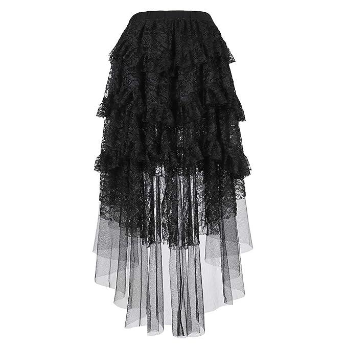 Amazon.com: Steampunk falda para mujer de encaje asimétrico ...