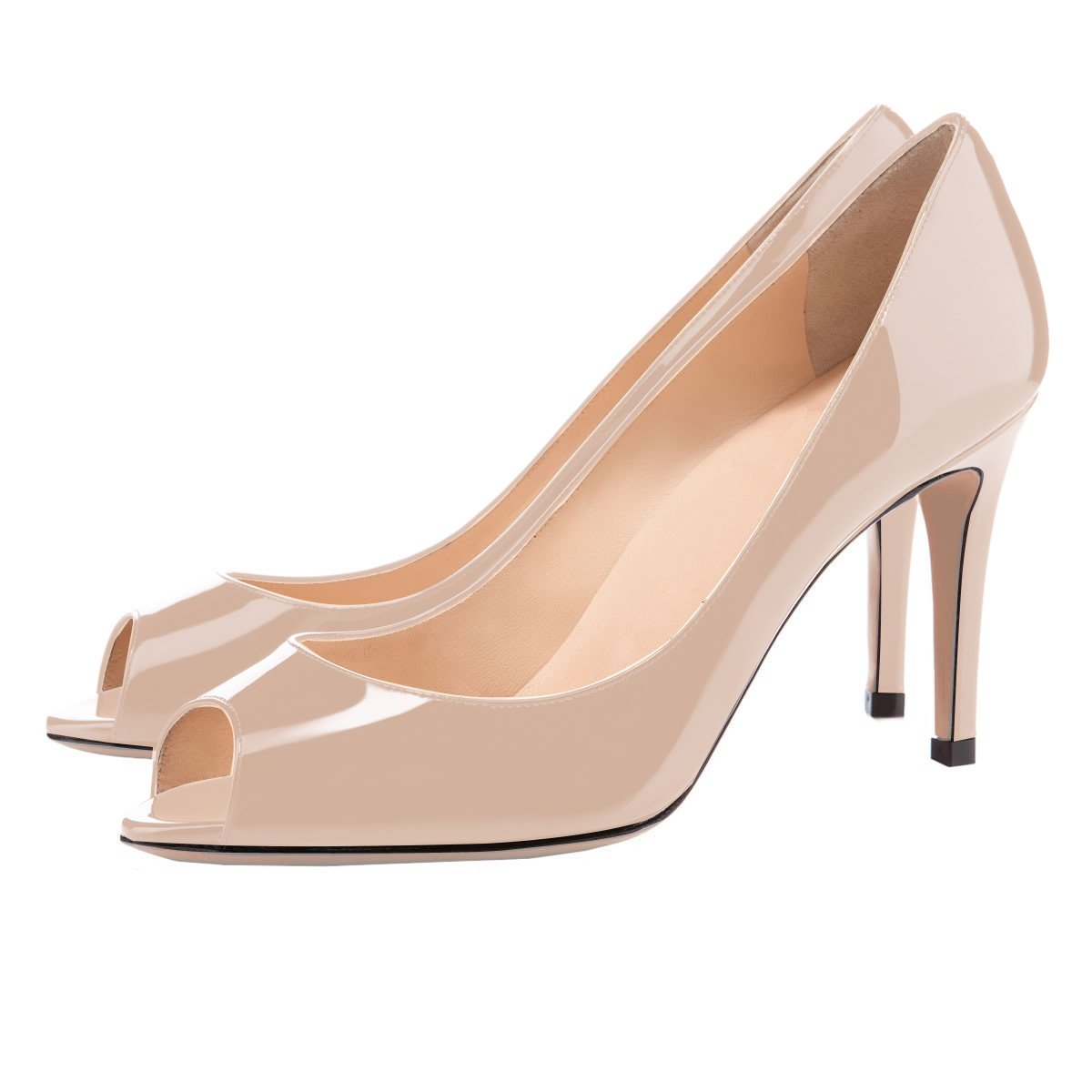 Eldof Women Peep Toe Pumps Mid-Heel Pumps Formal Wedding Bridal Classic Heel Open Toe Stiletto B07F1T9QD3 9 B(M) US|Beige