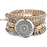 Aromatherapy Essential Oil Diffuser Bracelets, Stainless Steel Locket Stone Bead Wrap Leather Bracelet with 7 Color Felt Pads