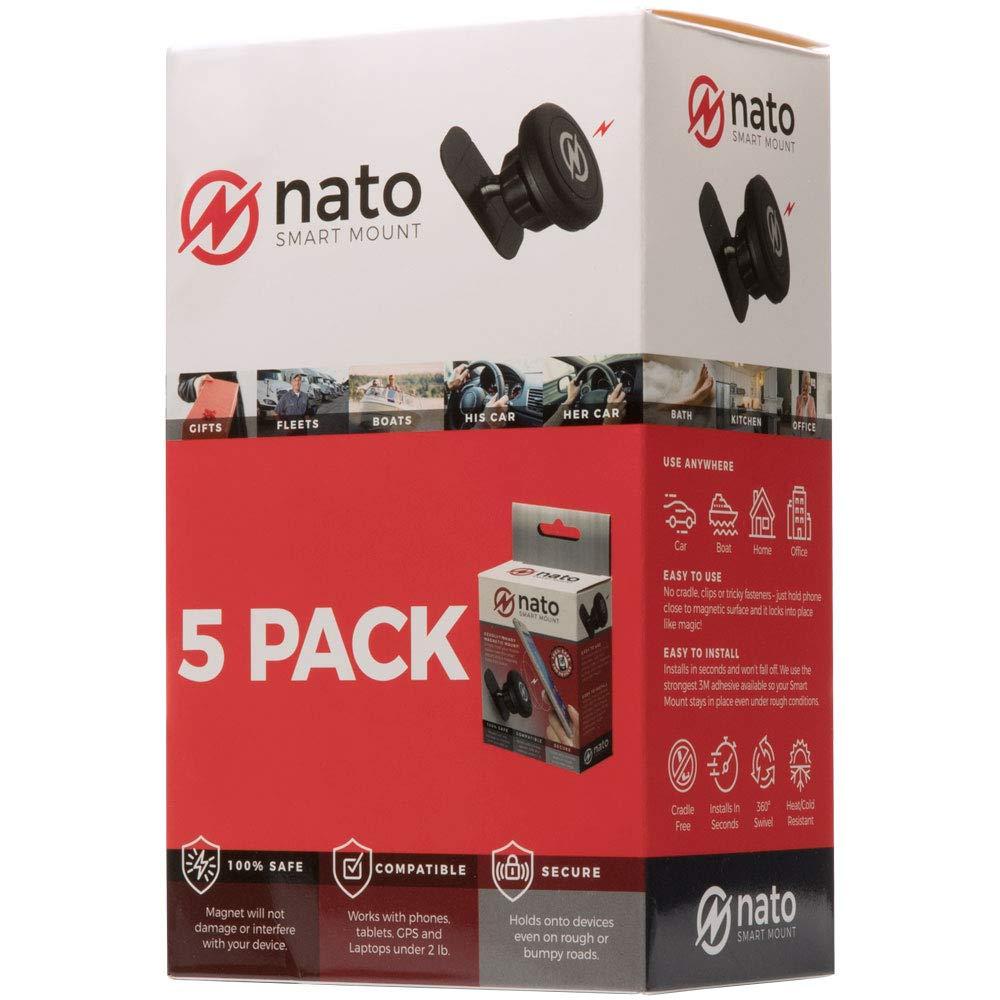 Nato Smart Mount - Magnetic Smart Device Holder Universal Adhesive (Black 5-Pack)