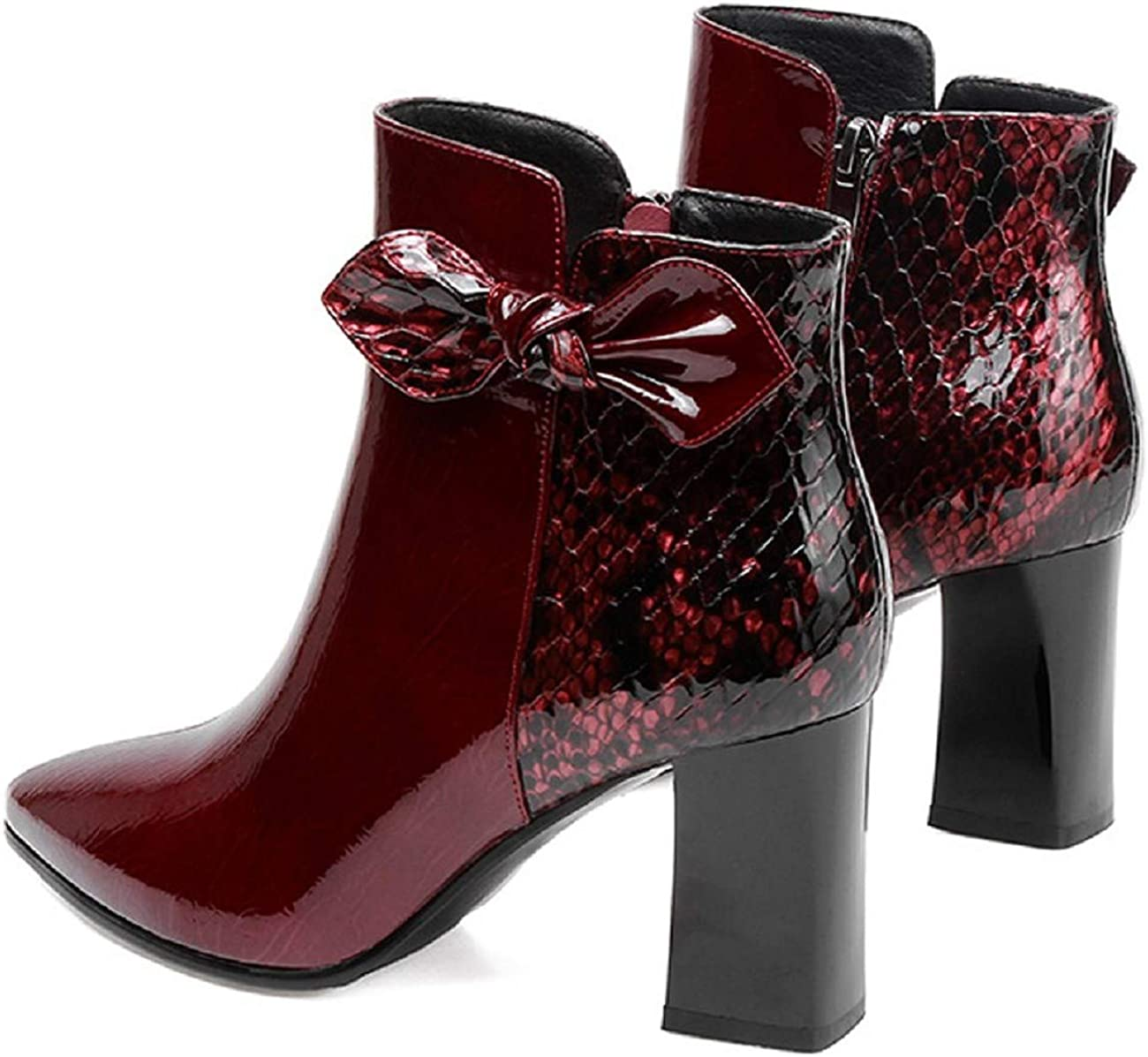 Tsmile Womens Color Block Patchwork Boots Patent Leather Snakeskin Bowknot Side Zipper High Block Heel Ankle Booties