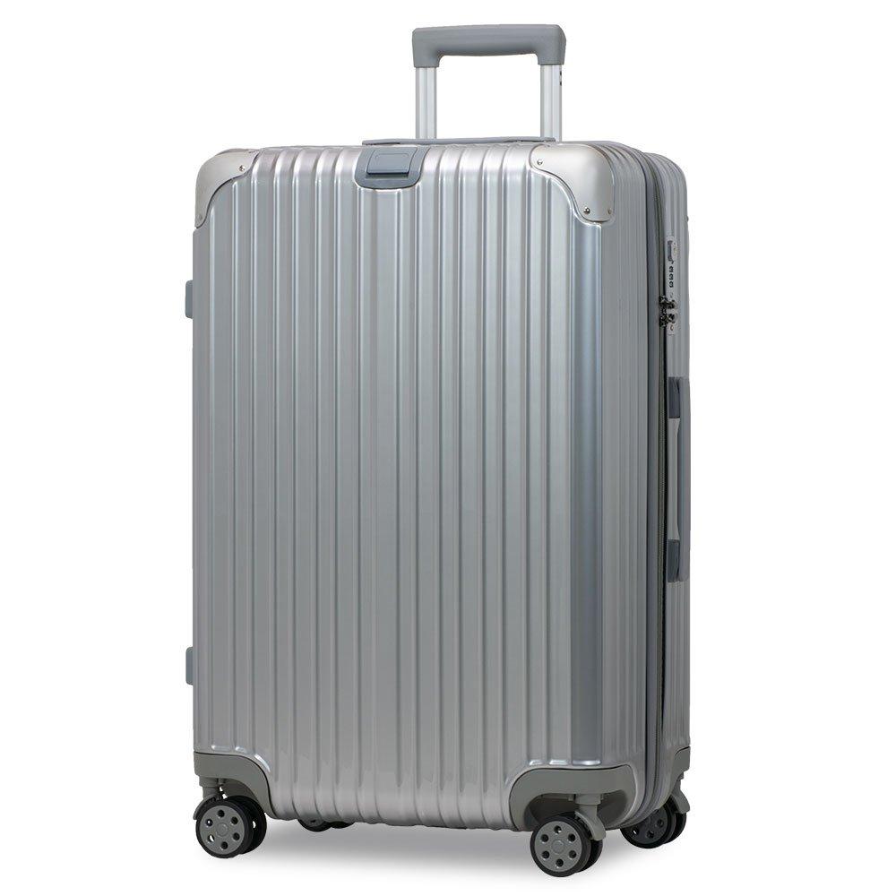 スーツケース アルミフレーム 機内持込~大型 軽量 超消音 ダブルキャスター 8輪 TSA キャリーケース キャリーバッグ B01MXZ2QFK M(3~5泊)-58L-ファスナー|シルバー/ シルバー/ M(3~5泊)-58L-ファスナー