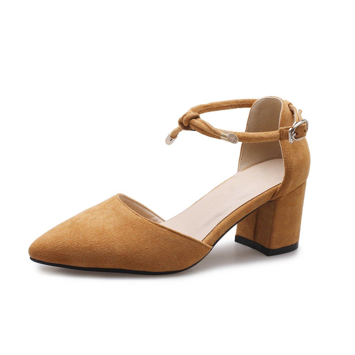 Chaussures Sandales Femmes Bouche Peu Profonde Fait épais avec Pure Couleur Grande Taille Talon,Yellow,43