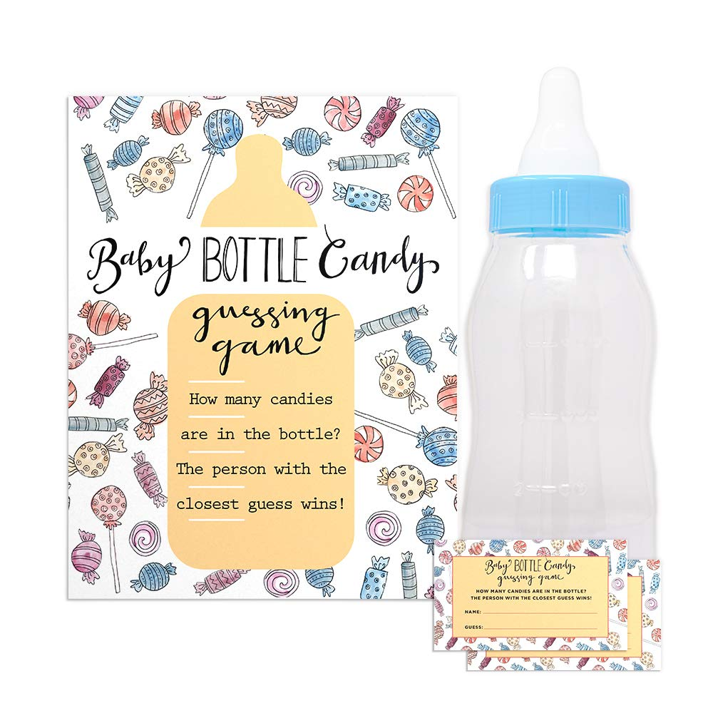 Baby Shower Candy Guessing Game with 30 Cards and 11'' Large Baby Bottle Bank in Blue - Baby Shower Prizes for Game Winners