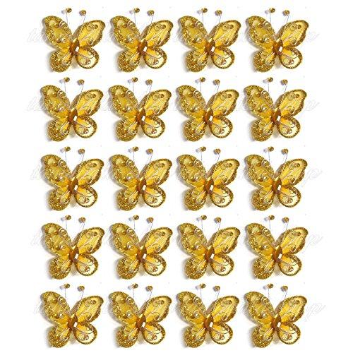 Glitter Gold Butterfly - 40-Pack Organza Butterflies 2