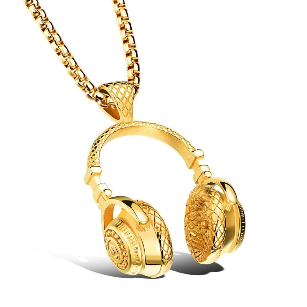 Necklace Odeer Mens Hip Hop Punk Style Microphone Earphone Pendant Necklace Trendy Necklace (Gold)