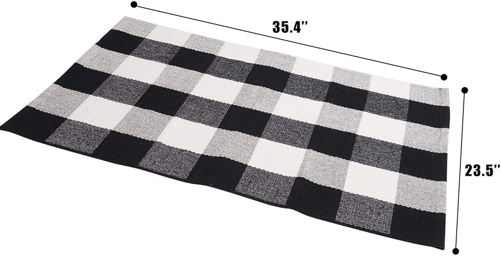 """SEEKSEE 100% Cotton Plaid Rugs Black/White Checkered Plaid Rug Hand-Woven Buffalo Checkered Doormat Washable Porch Kitchen Area Rugs (23.5""""×35.4""""): Kitchen & Dining"""