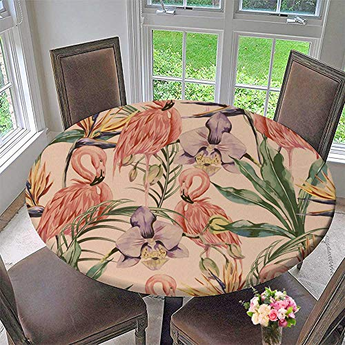 PINAFORE HOME Picnic Circle Table Cloths Tropical Flowers Palm Leaves Jungle Plants Orchid Bird of Paradise Flower for Family Dinners or Gatherings 40