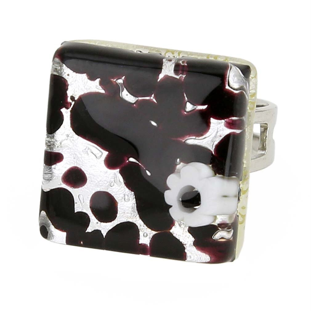 GlassOfVenice Murano Glass Venetian Reflections Square Adjustable Ring - Dark Purple